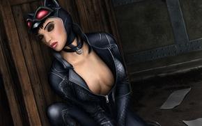 Картинка лицо, арт, костюм, закрытые глаза, Catwoman, женщина кошка, selina