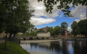 Картинка мост, парк, река, Швеция, river, Sweden, bridge, park, Эребру, Orebro