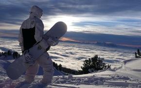 Обои облака, склон, сноубординг, горы