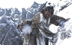 Картинка cinema, gun, Blizzard, weapon, tiger, snow, movie, asian, film, oriental, montain, The Tiger: An Old ...