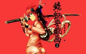 Картинка катана, веревка, иероглифы, рыжая, жест, красный фон, барабан, art, Nio