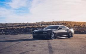 Картинка Chevrolet, Camaro, Black, Sunset, VIP, Wheels, VR15, Modular