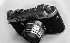 Картинка изображение, фотоаппарат, чёрно-белое, фон, ФЭД, обои, картинка