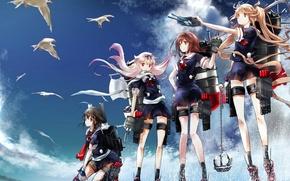 Картинка небо, облака, птицы, оружие, девушки, аниме, арт, shiratsuyu, kantai collection, renon, yuudachi, murasame, tenle, shigure