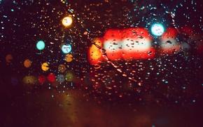 Обои огни, макро, цвета, стекло, блики, дождь, капли