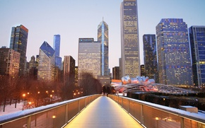 Картинка зима, снег, город, небоскребы, Чикаго, Иллиноис