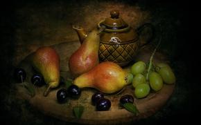 Картинка стиль, чайник, виноград, груши, черешня