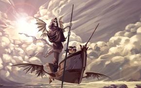 Картинка небо, облака, камни, лодка, крылья, девочка, нежить, шест