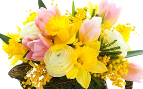 Обои tulips, flowers, bright, pink, narcissus, yellow, mimosa, bouquet