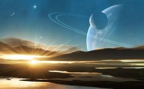 Обои вода, солнце, восход, звезда, планета