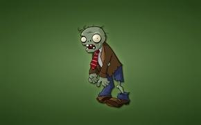 Обои минимализм, красный галстук, Plants vs. Zombies, зеленый фон, зомби