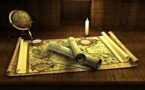 Картинка romance, compass, candle, adventure, globe, old maps, manuscripts, treasure hunting