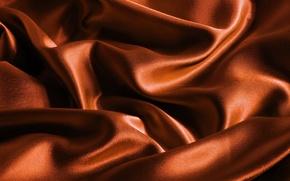 Картинка оранжевый, фон, цвет, текстура, шелк, ткань, коричневый, атлас, красивый, переливы