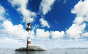 Обои маяк, облака, небо, вода, остров