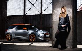 Картинка девушка, racecar, Сitroen, DS3
