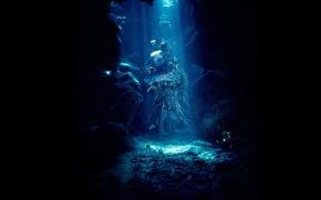 Картинка свет, камни, черный, Вода