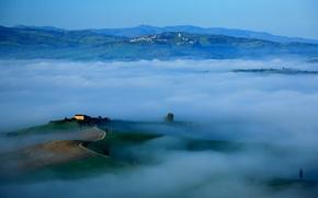 Картинка небо, горы, туман, холмы, утро, Италия, Тоскана