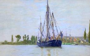Картинка корабль, картина, Парусник, мачта, Клод Моне