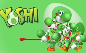 Картинка green, wallpaper, egg, tongue, multiple yoshi, yoshi
