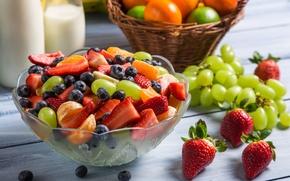 Картинка черника, клубника, виноград, десерт, fruit, strawberry, мандарин, фруктовый салат, salad