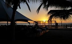 Картинка пляж, закат, природа, landscape, ужин, Доминикана, Tropical beach sunset