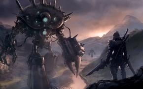 Картинка река, оружие, скалы, меч, роботы, воин, арт, рыцарь, доспех, Loyvet Pierre