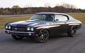 Картинка Chevelle, Muscle car, 1970, дорога, чёрный, передок, классика, Concept 2011, Performance, шевиль, Dale Earnhardt Jr\'s, ...