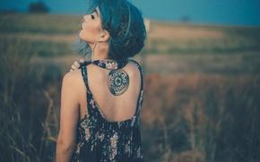 Картинка спина, тату, татуировка, девушка. синие волосы