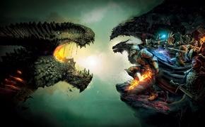 Обои Дракон, Огонь, Доспехи, Меч, Магия, Воин, Оружие, BioWare, Electronic Arts, Dragon Age: Inquisition