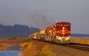 Картинка небо, пейзаж, рельсы, поезд, тепловоз