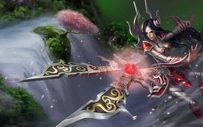 Обои девушка, брызги, оружие, дерево, водопад, league of legends, irelia