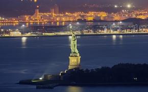 Обои огни, США, ночь, дома, Нью-Йорк, пейзаж, Статуя Свободы