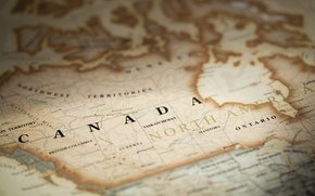 Обои Canada, antique map, paper