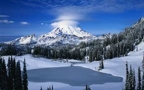 Картинка зима, лес, небо, облака, снег, деревья, гора