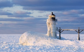Картинка Frozen, Winter, Landscape, Snow, Lighthouse, Michigan