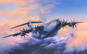Картинка авиация, арт, самолёт, военный, Airbus, транспортный, A400M