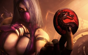 Картинка девушка, дракон, фокус, арт, жетон, монета, Mortal Kombat, Mileena, Testing Your Sight