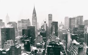 Картинка USA, United States, Winter, Manhattan, NYC, Snow, New York City, Skyline, Chrysler Building, Black and …
