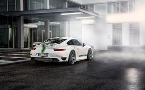Картинка Porsche, White, Turbo, Supercar, 991, 2014, TechArt, Rear