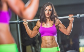 Обои abs, workout, bodybuilder, fitness, fitness model, reflection, mirror, weight bar, sportswear