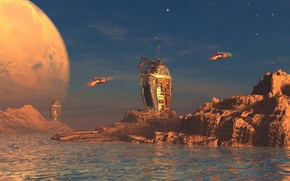 Картинка world, sky, water, clouds, rocks, planet, spaceships, towers, derelict