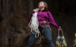 Картинка woman, equipment, attitude, climbing ropes