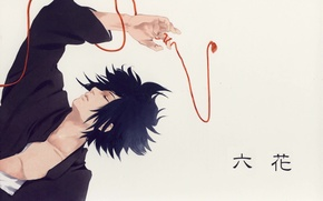Картинка рука, серый фон, Naruto, красная нить, ninja, закрытые глаза, Sasuke Uchiha, лежит на спине, Наруто …