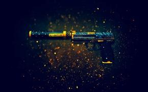 Картинка пистолет, оружие, фон, глушитель