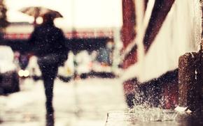 Картинка капли, дождь, улица, силуэт, rain drops
