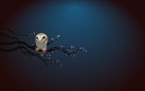 Картинка ночь, сова, ветка