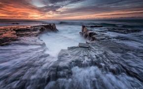 Картинка пляж, вода, камни, скалы, берег, утро, выдержка, Австралия, Новый Южный Уэльс, Эра, Королевский национальный парк