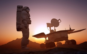 Картинка арт, абстракция, неизведанность, выход, атмосфера, инжиниринг, красотища, исследования, разведка, марсоход, космос, космонавт, поверхность, Марс, astronaut, ...