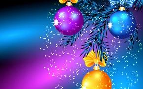 Обои шарики, свет, иголки, игрушки, блеск, новый год, рождество, ветка, бант, блик