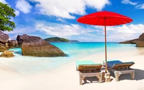 Обои берег, зонт, песок, море, солнце, Phuket, горизонт, облака, красный, Таиланд, пляж, лежаки, небо, тропики, шезлонги, ...